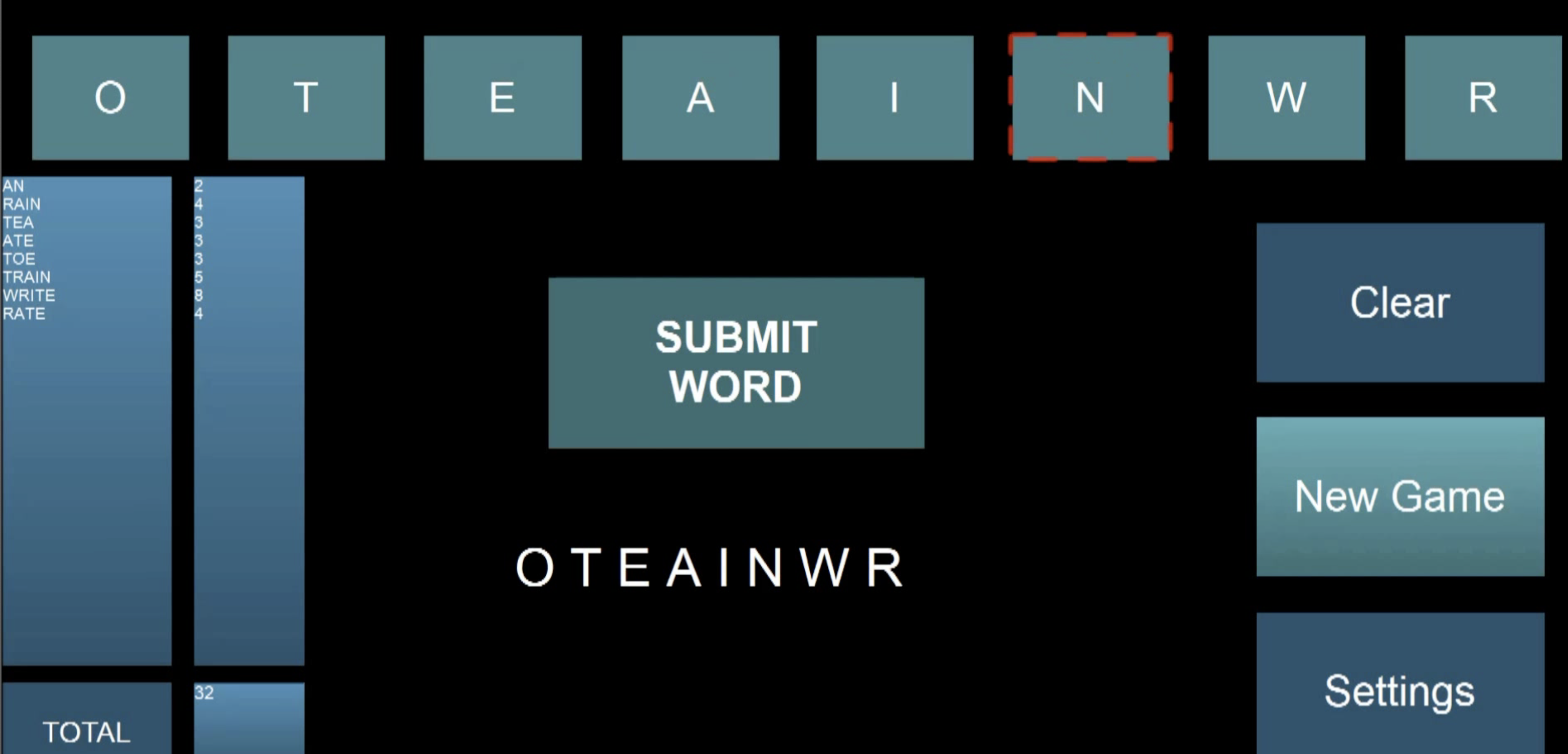 A screenshot of the Anagram game
